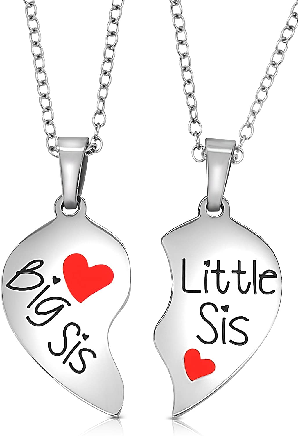 Sister Necklace Sterling Silver Rose Gold Plated Big Sis Lit Sis Love Heart Friendship Necklace Jewelry Gifts for Sister Classmates Girls