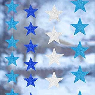 4 Sets/52 Feet Star Paper Bunting Banner Kit, Metallic Shiny Star and Twinkle Glittery Star Garland Combo, Hanging Decorations/Backdrops for Wedding, Birthday, Baby Shower (Silver/Blue)