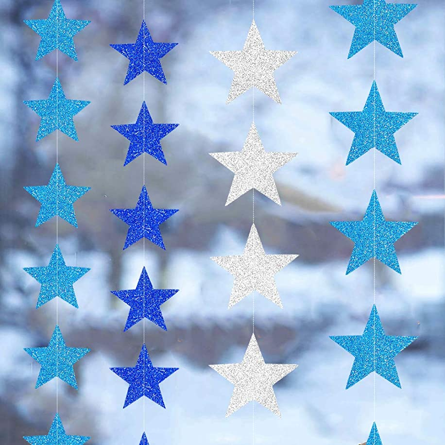 4 Sets/52 Feet Blue & Silver Star Garland Kit, Blue Star Party Decoration Supplies, Glitter Star Banner Garland Combo, Twinkle Twinkle Little Star Decorations for Baby Shower Birthday Winter Party