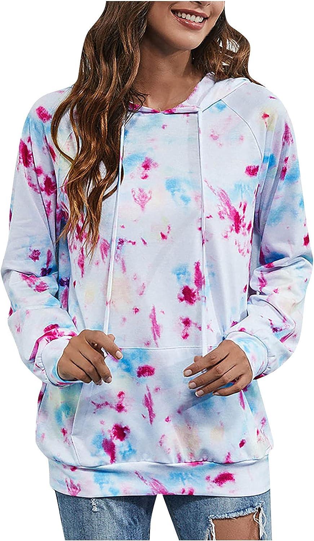 Womens Tie Dye Print Hoodie Sweatshirt Colorblock Long Sleeve Drawstring Pullover Tops with Pocket