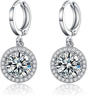 Masop nuziale taglio rotondo orecchini argento cristallo chiaro zirconi