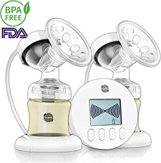 Double Electric Breast Pump - for Perfect Massage and Breastfeeding Assistant, with Backflow Protector Pain Free 9 Levels Suction and Massage with 2 Milk Storage Bottle, BPA Free Hospital Grade