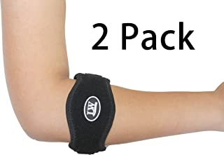 Two LW Elbow Support Strap Wrap Band (Pack of 2) S/M/L - The Best Neoprene Forearm Brace with a Compression Pad - Tennis Elbow Golfer's Elbow Rowing Elbow Pain Relief