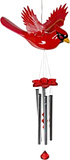 Exhart Solar Cardinal Wind Chimes - WindyWings Flapping Wings Musical Wind Chimes - Durable Plastic Solar Cardinal Decor & Metal Pipes, Large Windchimes (12'' W x 10'' H x 24'' H)