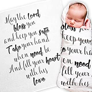 Ocean Drop - White Muslin Swaddle Blankets - May The Lord Quote - for Christening, Baptism, Baby Shower, Godchild Gift - 100% Cotton, Breathable - Machine Washable (47