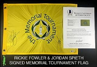 Rickie Fowler Jordan Spieth Autographed Memorial Tournament Flag Beckett Bas Coa - Beckett Authentication