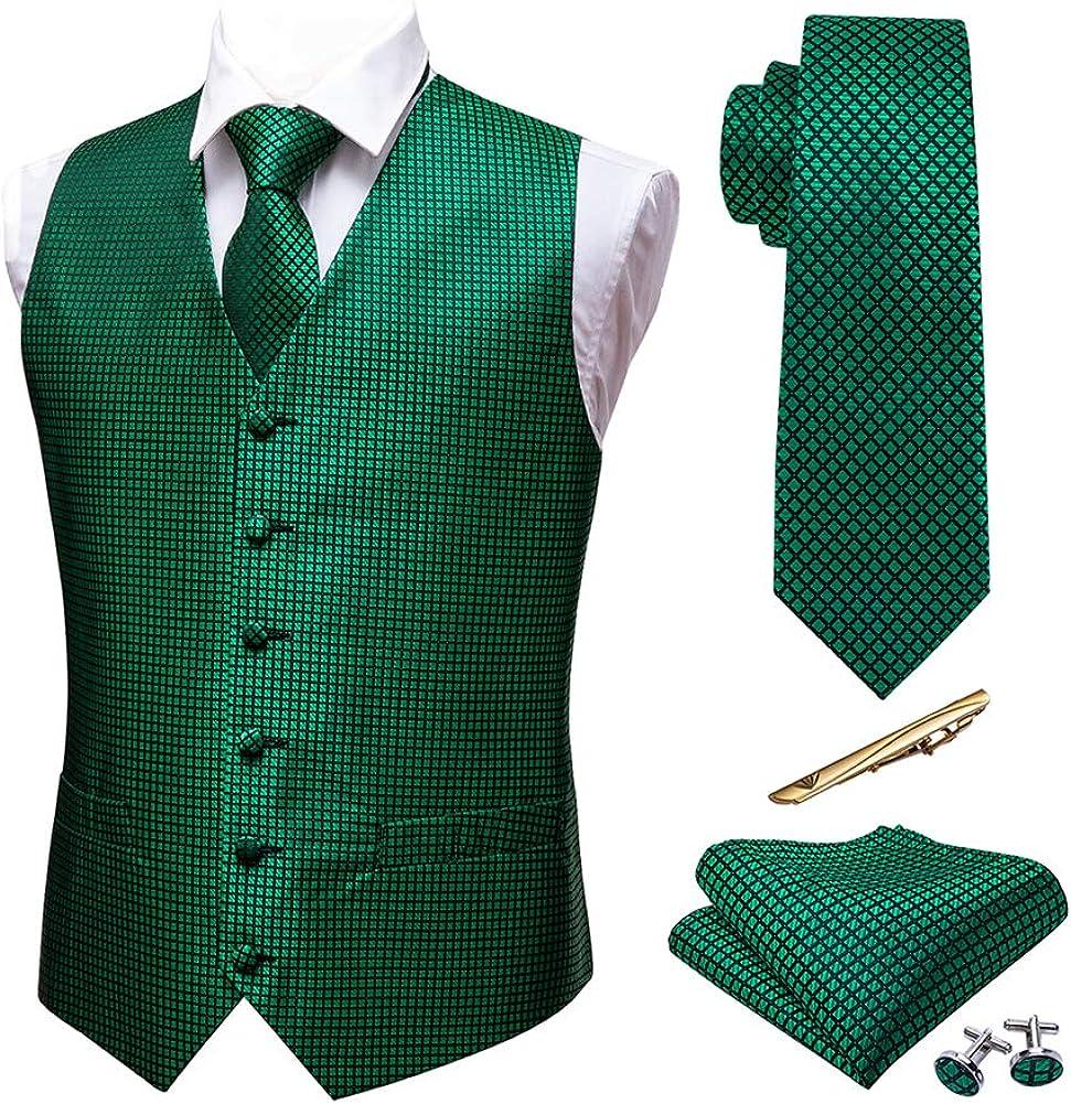 Manufacturer OFFicial shop Barry.Wang Branded goods Mens Silk Victorian Vest Tie Set Collar Tailored Pais