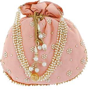 Kuber Industries Ethnic Clutch Silk Potli Batwa Pouch Bag with Beadwork Gift For Women (Peach) - CTKTC23066