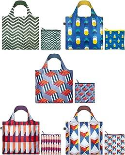 LOQI A71721c (Set of 5), Geometric, Elements Reusable Shopping Bags