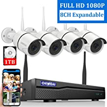 【8CH Expandable】 Home Security Camera System Wireless, OHWOAI 8 Channel 1080P Surveillance DVR Recorder with 1TB Hard Drive, 4Pcs 2.0MP 1080P Outdoor Wireless CCTV IP Cameras,Night Vision,Waterproof