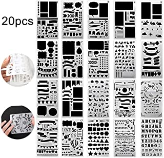 20 PCS Bullet Journal Stencil Plastic Planner Set for Monthly Weekly Journal/Notebook/Diary/Scrapbook DIY Drawing Greeting Card Template 4x7 Inch