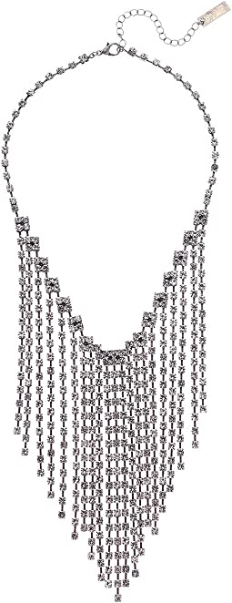 Rhinestone Link Chain Fringe Bib Necklace