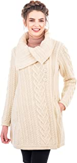 SAOL 100% Merino Wool Women Classic Cable Knit Cardigan Irish Coat with Pockets