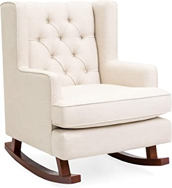 Best Choice Products Rocking Accent Chair, Tufted Upholstered Linen Wingback for Nursery, Living Room, Bedroom w/Wood Frame -