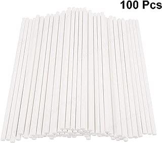 LAQI 100 Piezas de Fiesta de cumpleaños Blanca DIY Craft Sticks Cake Pop Sticks Paper Lollipop Sticks 12cm