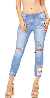 a9d151eecc Cello Jeans Women s Juniors Mid Rise Distressed Skinny Jeans