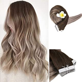 """Full Shine 14"""" Skin Weft Tape Hair Extensions Ombre Balayage Color #4 Fading to #18 Ash Blonde Tape in Remy Human Hair Ext..."""