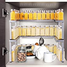Expandable Spice Rack Organizer for Cabinet & Pantry, Nandae 2 Tier Stackable Adjustable Spicy Shelf, Stable Silver Priumum Iron Rack