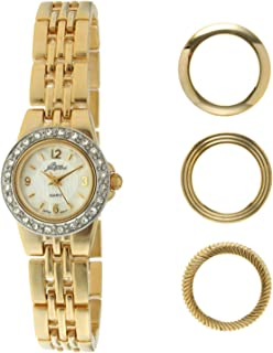 Pierre Jacquard Women's Gold-Tone Crystal Petite Watch with 4 Interchangeable Bezels Gift Set