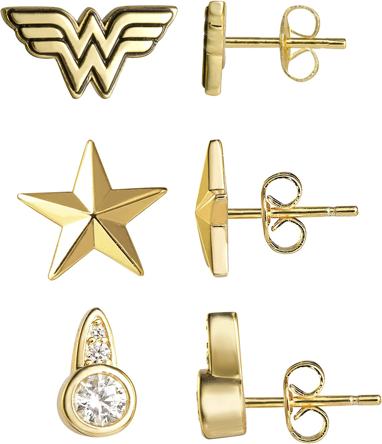 DC Comics Wonder Woman 1984 Officially Licensed Yellow Gold Plated Stud Earrings Set, 3 Pairs
