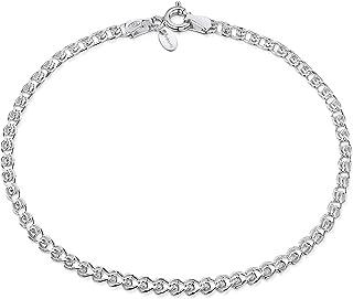 Amberta 925 Sterling Silver 2.3 mm Fine Heart Chain Bracelet
