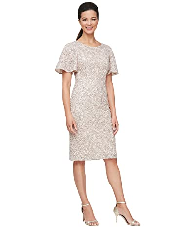 Alex Evenings Short Corded Detail Sheath Dress with Flutter Sleeves