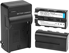 D&F NP-F550 NP-F570 Li-ion Replacement Battery(2 Pack) with Recharge Charger for Sony NP-F550/570 Camcorder LED Video Light