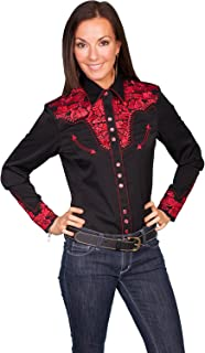 Scully Women's Silver Western Embroidered Shirt - Pl654-Slv
