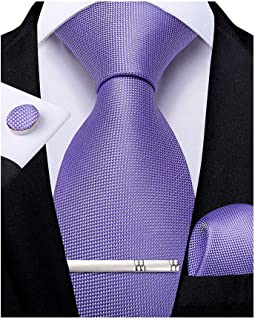 DiBanGu Men's Silk Tie Pocket Square Business Necktie Formal Woven Tie Cufflink Set
