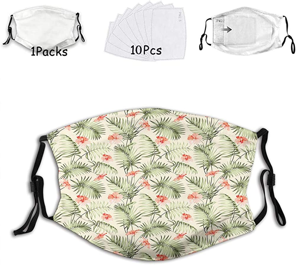 Hawaiian Aloha Nature Pattern with Rainforest Elements Reusable Face Mask Balaclava Washable Outdoor Nose Mouth Cover