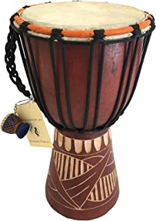 Djembe Drum Bongo Congo African Solid Wood Drum Hand Carved - MED SIZE- 12