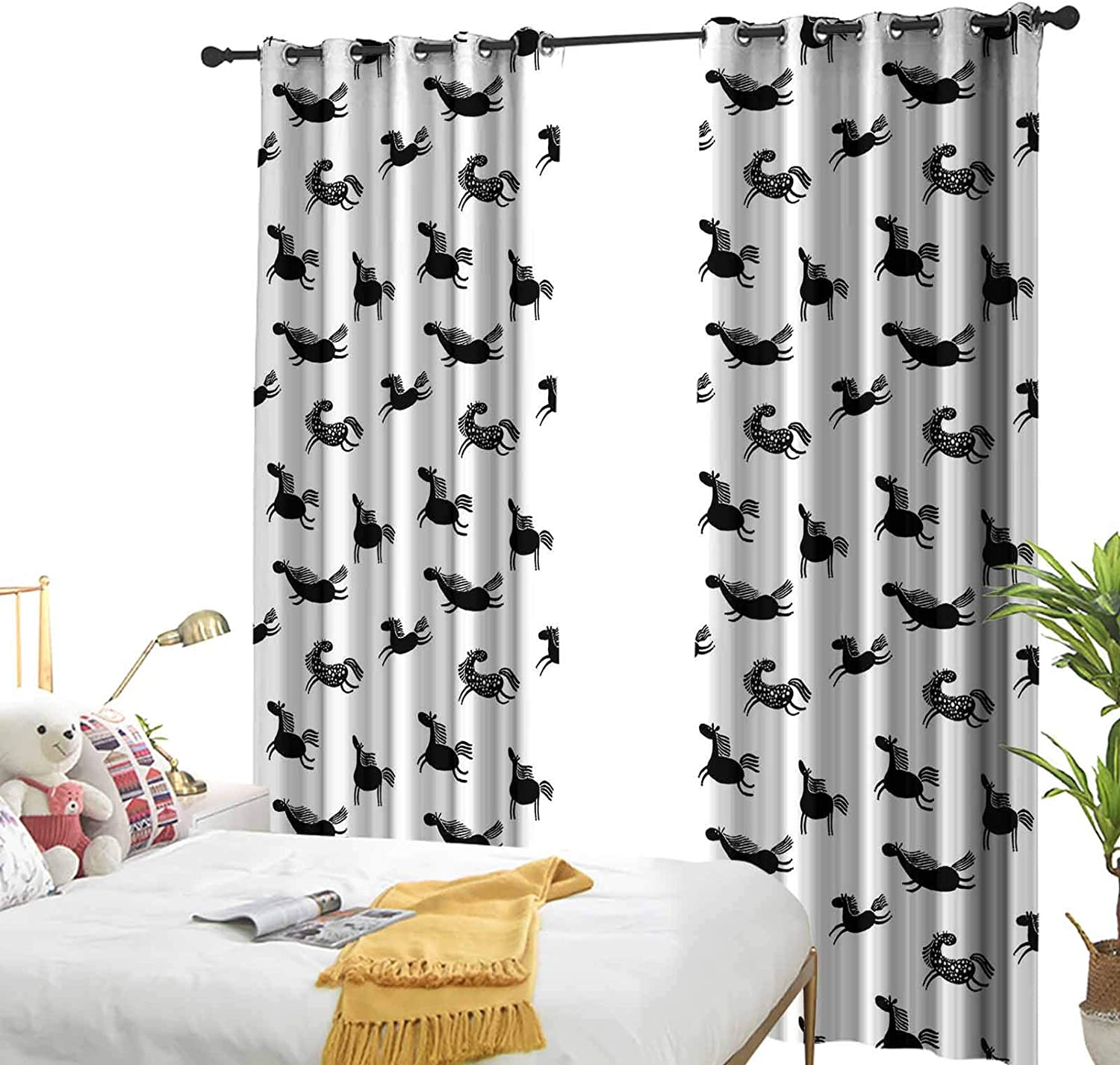 Horses Popular products Curtains Blackout Drapery Max 67% OFF Cute Doodle Pattern Equidae Mon