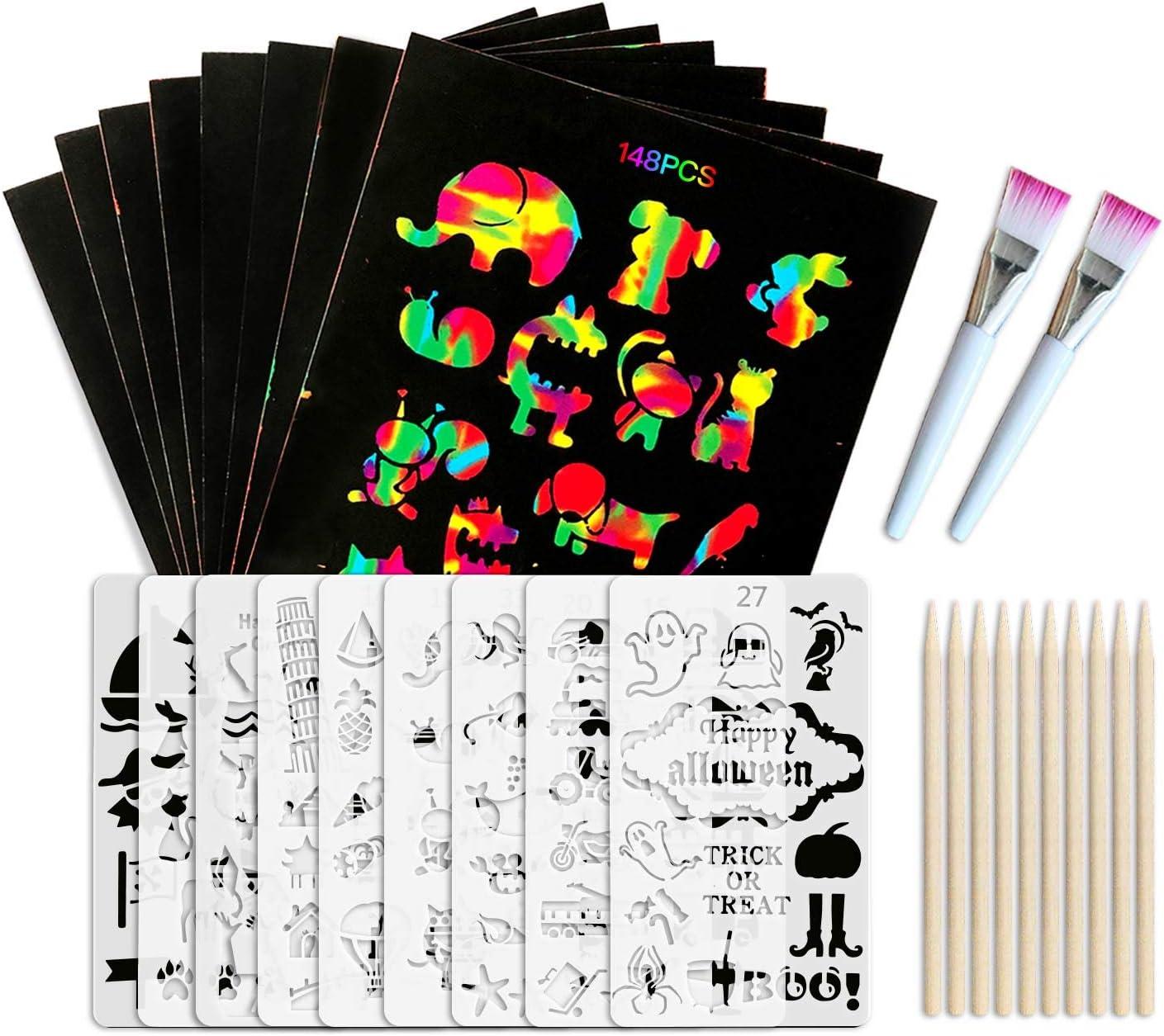 Scratch Paper Popular brand Art Set Max 44% OFF 148 Pcs an Rainbow Magic Off Arts