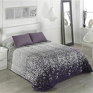 Camatex - Conforter Gloria Cama 135 - Color Morado (edredón de Acolchado Grueso época de frío con Cintas y Botones como Sistema de Ajuste)