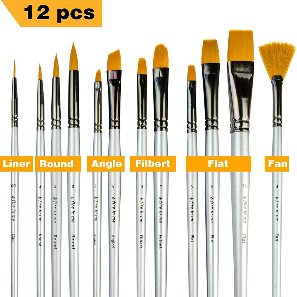 Art Paint Brushes for Acrylic Painting Watercolor Oil Gouache - Body and Face Paint Brushes. Best Professional Art Supplies Painting Brush Set of 12 pcs for Adults and Kids