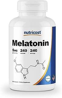 Nutricost Melatonin 5mg, 240 Capsules - Regulate Sleeping Cycle, Non-GMO, Gluten Free