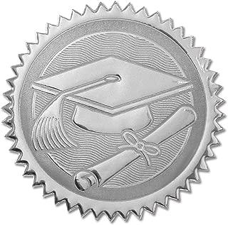 Embossed Graduation Cap & Diploma Silver Certificate Seals, 102 Pack