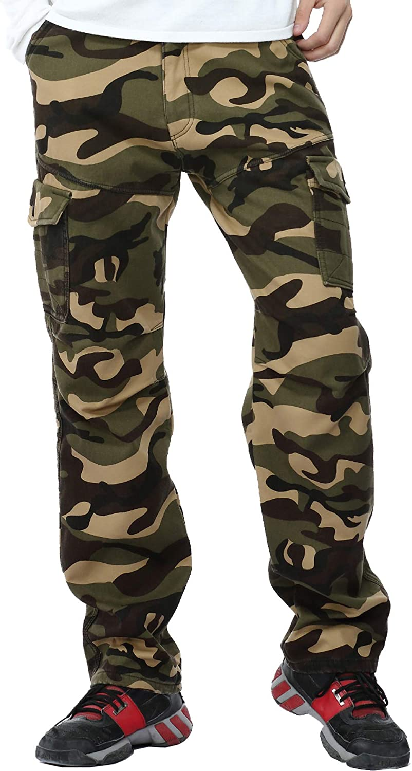 WINOTO Mens Fleece Lined Tulsa Mall Cargo Pants Work Limited time for free shipping Thicke Winter Camo Pan