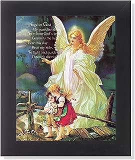 Guardian Angel Poem Children Bridge Religious Wall Picture Framed Art Print