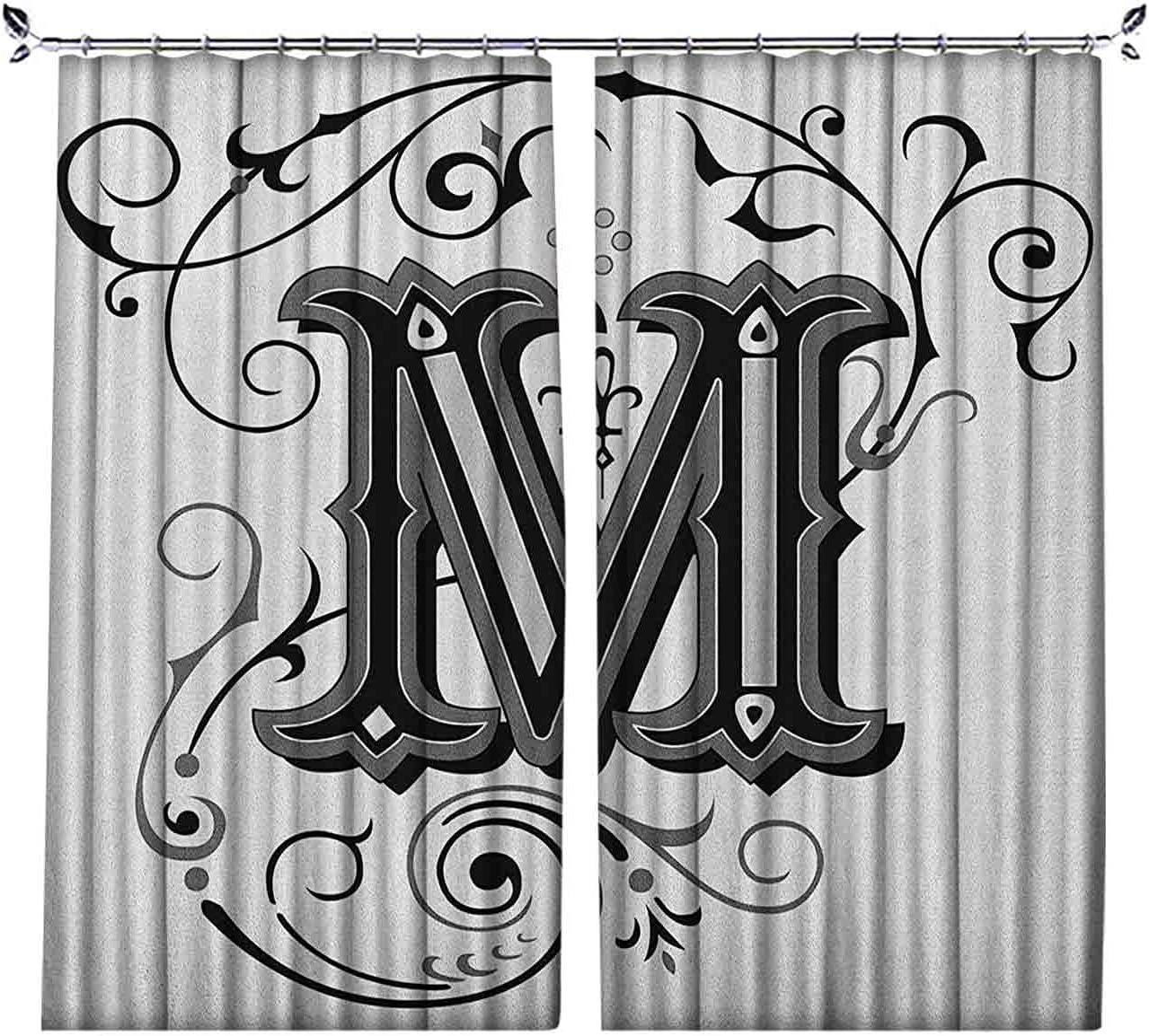 Room Darkening Letter M Denver Mall Curtain Abstract D in Design Ornamental Weekly update