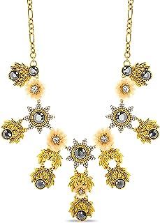 Badgley Mischka Rhinestone Sunburst Sequin Yellow Flower Statement Necklace for Women Adjustable 18 - 21 Inches