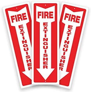 Fire Extinguisher Plastic Signs for Office & Business– 3 Pack 4x12 Inch – 40 mil Thick Polystyrene Plastic, Laminated for ...