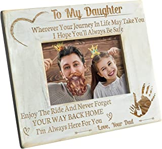 K KENON Engraved Wooden Frame for Daughter, Personalized Natural Wood Photo Frame Gift for Daughter Son Graduation Gift from Mom, from Dad (for Daughter from Dad)