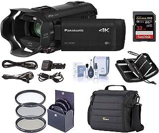 Panasonic 4K Ultra HD Camcorder HC-VX981K (Black), 20x Optical Zoom, Bundle Kit with Video Bag + 32GB SDHC Card + 49mm Fil...