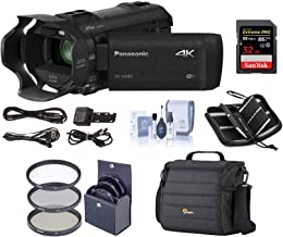 Panasonic HC-VX981K 4K Ultra HD Camcorder with 4K Photo Capture, Wi-Fi - Bundle with Video Bag, 32GB Class 10 U3 Sdhc Card, Cleaning Kit, 49mm Filter Kit, Memory Wallet