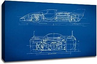 """ArtsyCanvas Sports Car 1 Gearhead Blueprint Art (24x16 Canvas), 24"""" x 16"""""""