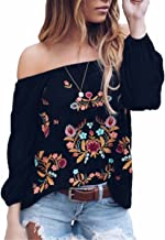 Womens Sexy Off The Shoulder Tops Long Sleeve Boho Floral Embroider Casual Blouse Shirt