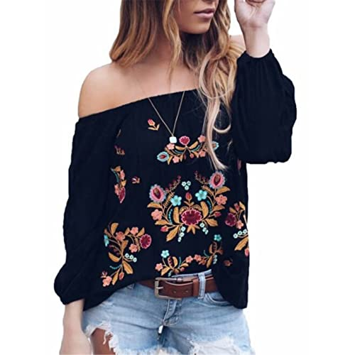 d70d2e5ebd8712 DUTUT Womens Sexy Off The Shoulder Tops Long Sleeve Boho Floral Embroider  Casual Blouse Shirt
