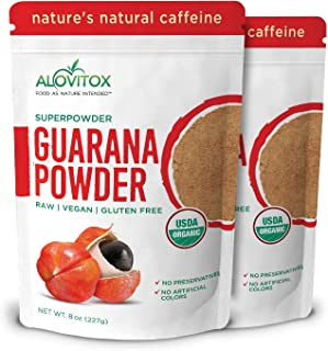 Organic Guarana Seed Powder by Alovitox (16 Oz) | Raw, Vegan, Gluten Free Super Food Supplement | Naturally High in Energy...