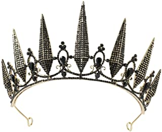 SWEETV Gothic Crown Pageant Tiara for Women, Black Queen Tiaras and Crowns, Costume Party Accessories for Wedding Hallowee...
